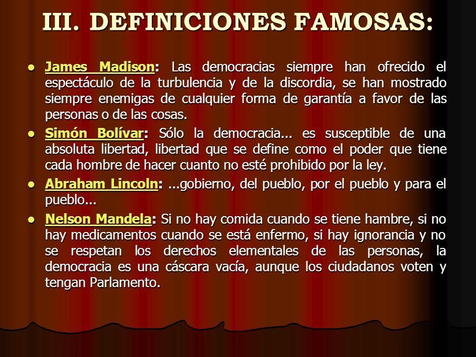 III. DEFINICIONES FAMOSAS: