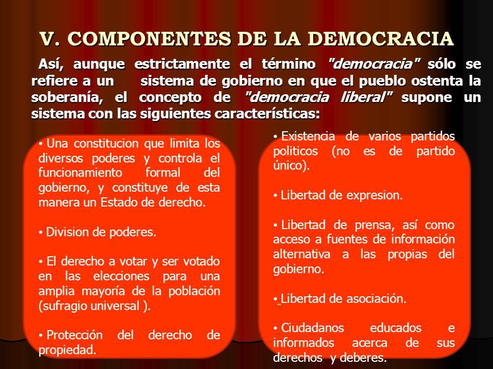 V. COMPONENTES DE LA DEMOCRACIA