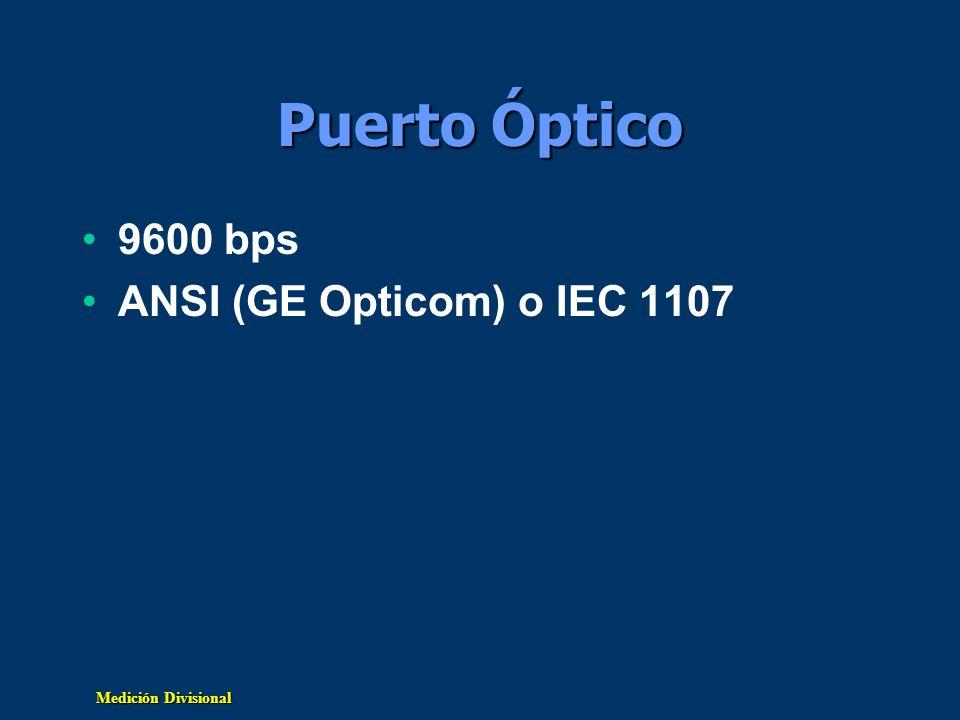 Puerto Óptico 9600 bps ANSI (GE Opticom) o IEC 1107