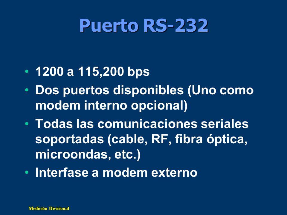 Puerto RS-232 1200 a 115,200 bps. Dos puertos disponibles (Uno como modem interno opcional)