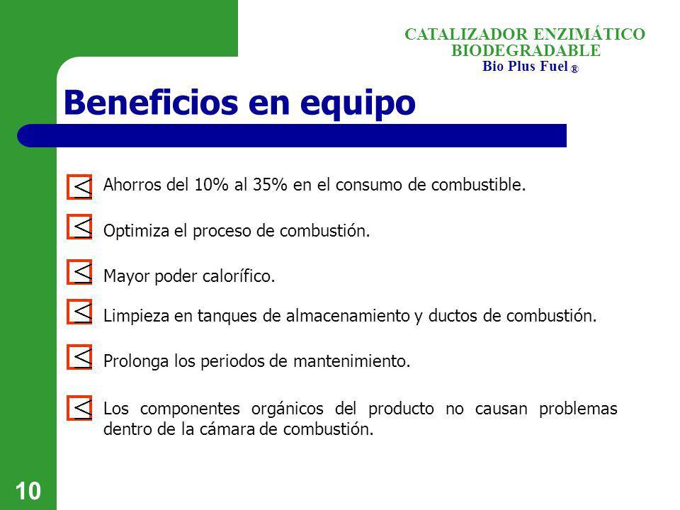 Beneficios en equipo Ahorros del 10% al 35% en el consumo de combustible. Optimiza el proceso de combustión.