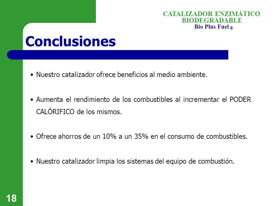 Conclusiones Nuestro catalizador ofrece beneficios al medio ambiente.