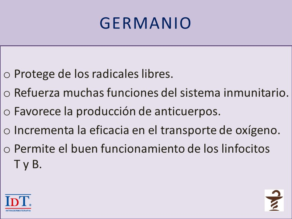 GERMANIO Protege de los radicales libres.
