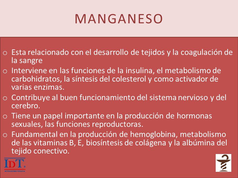 MANGANESO Esta relacionado con el desarrollo de tejidos y la coagulación de la sangre.