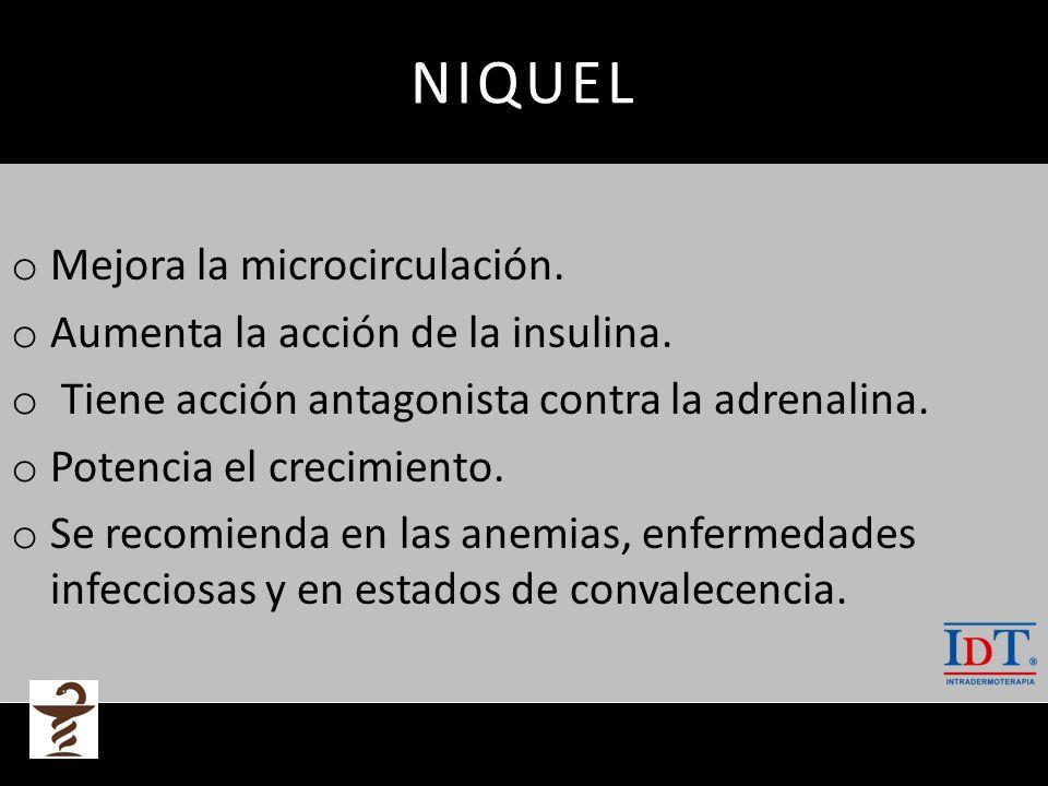 NIQUEL Mejora la microcirculación. Aumenta la acción de la insulina.