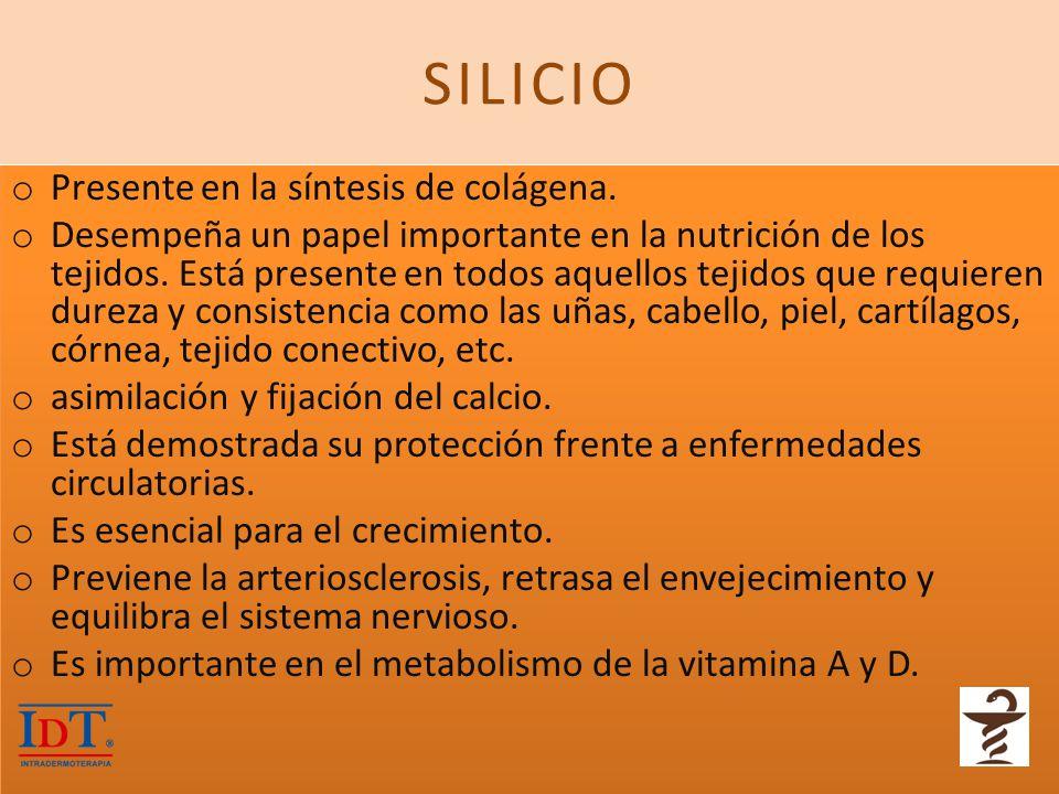 SILICIO Presente en la síntesis de colágena.
