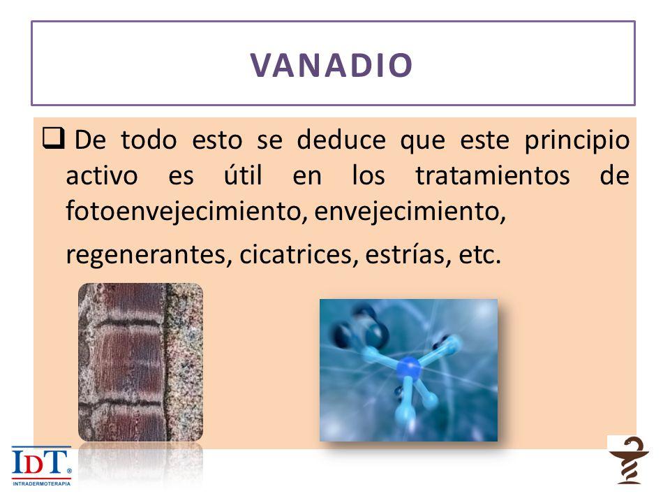 VANADIO De todo esto se deduce que este principio activo es útil en los tratamientos de fotoenvejecimiento, envejecimiento,