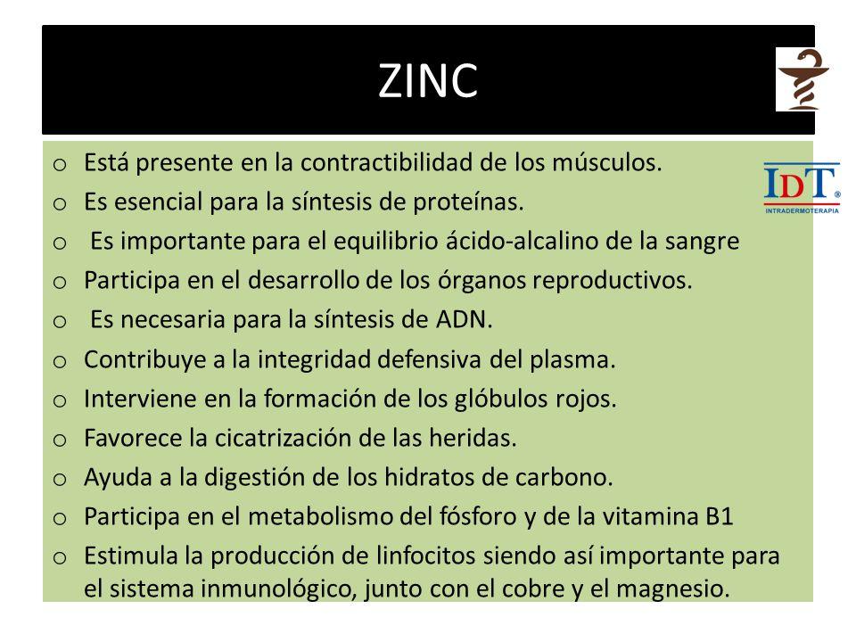 ZINC Está presente en la contractibilidad de los músculos.