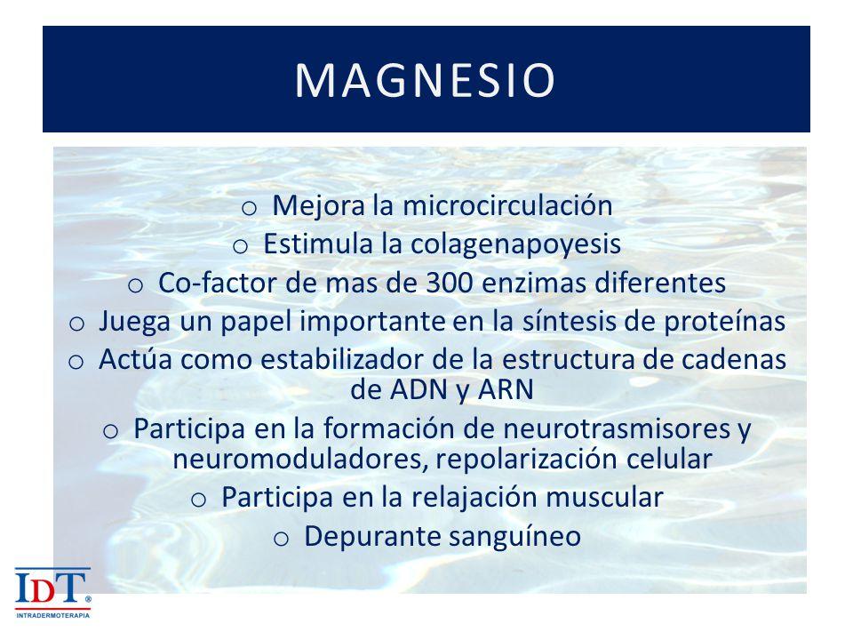 MAGNESIO Mejora la microcirculación Estimula la colagenapoyesis