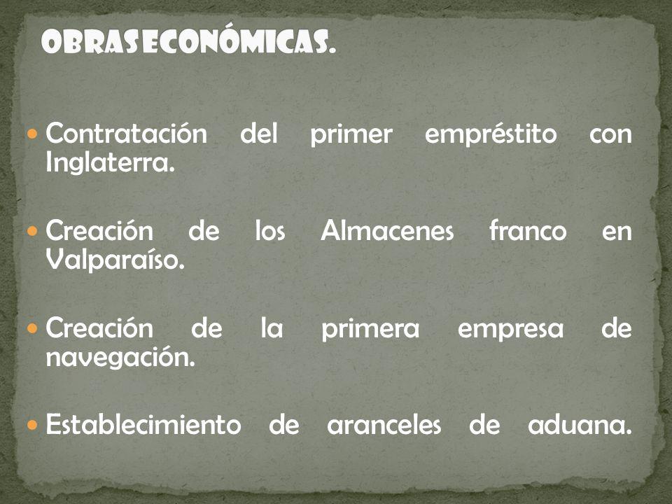Obras Económicas. Contratación del primer empréstito con Inglaterra.