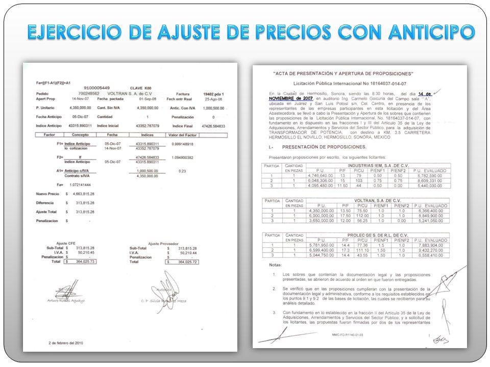 EJERCICIO DE AJUSTE DE PRECIOS CON ANTICIPO