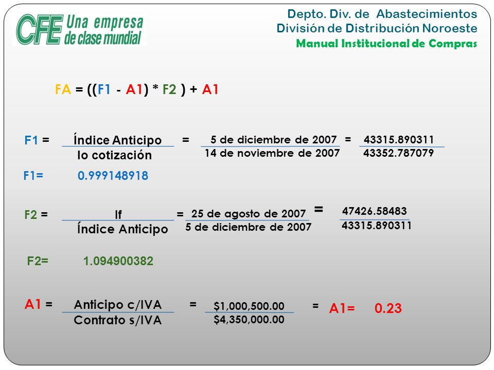 = 47426.58483 FA = ((F1 - A1) * F2 ) + A1 A1 = Anticipo c/IVA =