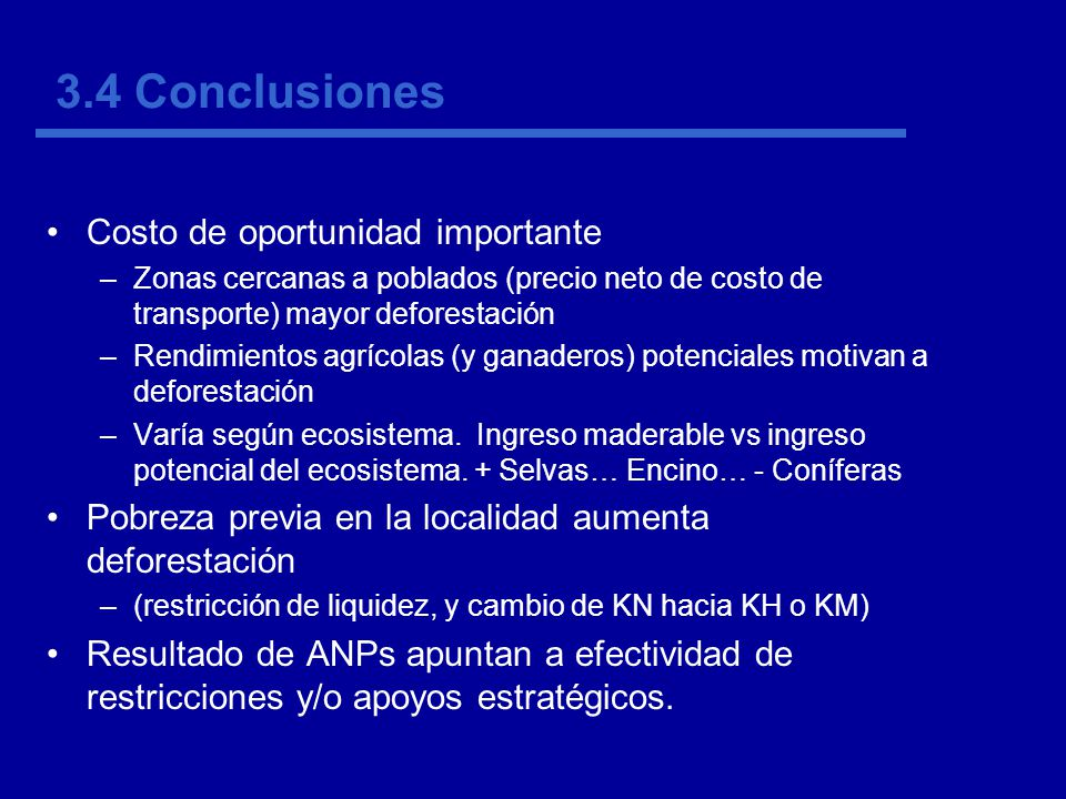 3.4 Conclusiones Costo de oportunidad importante