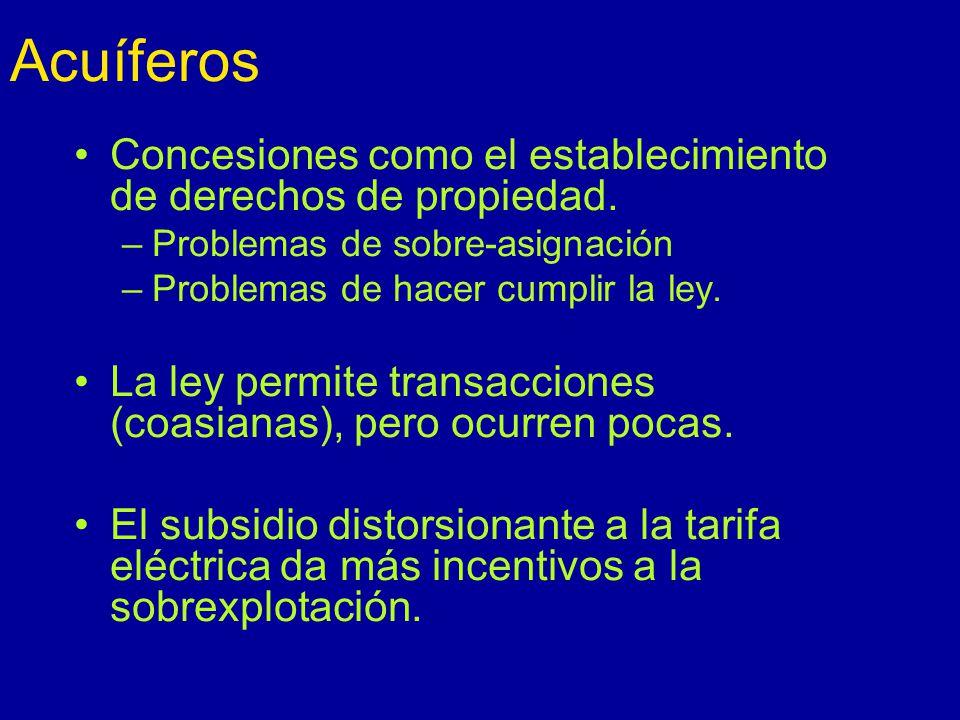 Acuíferos Concesiones como el establecimiento de derechos de propiedad. Problemas de sobre-asignación.