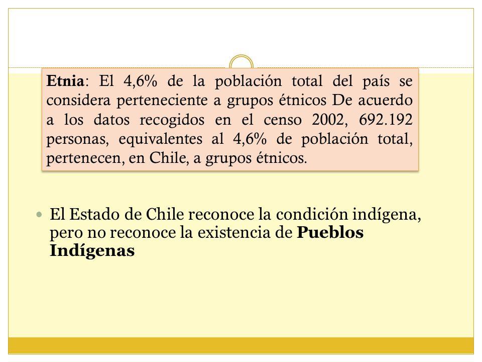 Etnia: El 4,6% de la población total del país se considera perteneciente a grupos étnicos De acuerdo a los datos recogidos en el censo 2002, 692.192 personas, equivalentes al 4,6% de población total, pertenecen, en Chile, a grupos étnicos.