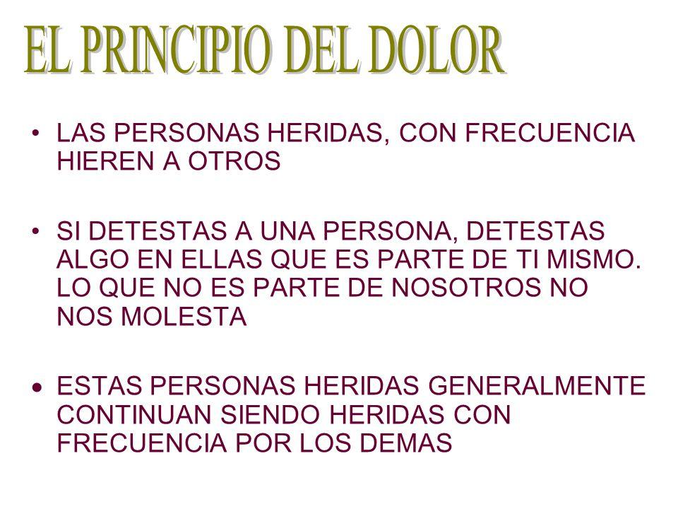 EL PRINCIPIO DEL DOLOR LAS PERSONAS HERIDAS, CON FRECUENCIA HIEREN A OTROS.