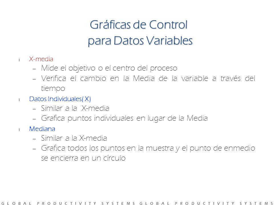 Gráficas de Control para Datos Variables
