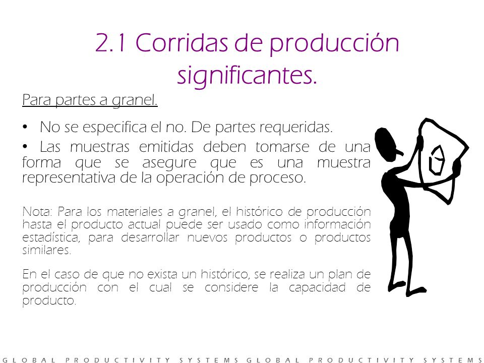 2.1 Corridas de producción significantes.