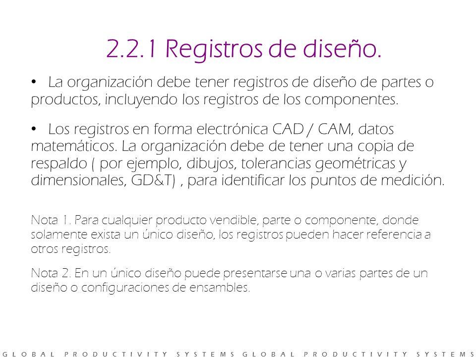 2.2.1 Registros de diseño. La organización debe tener registros de diseño de partes o productos, incluyendo los registros de los componentes.