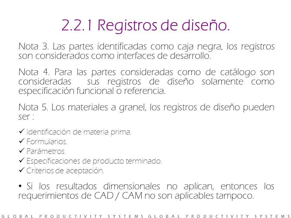 2.2.1 Registros de diseño. Nota 3. Las partes identificadas como caja negra, los registros son considerados como interfaces de desarrollo.