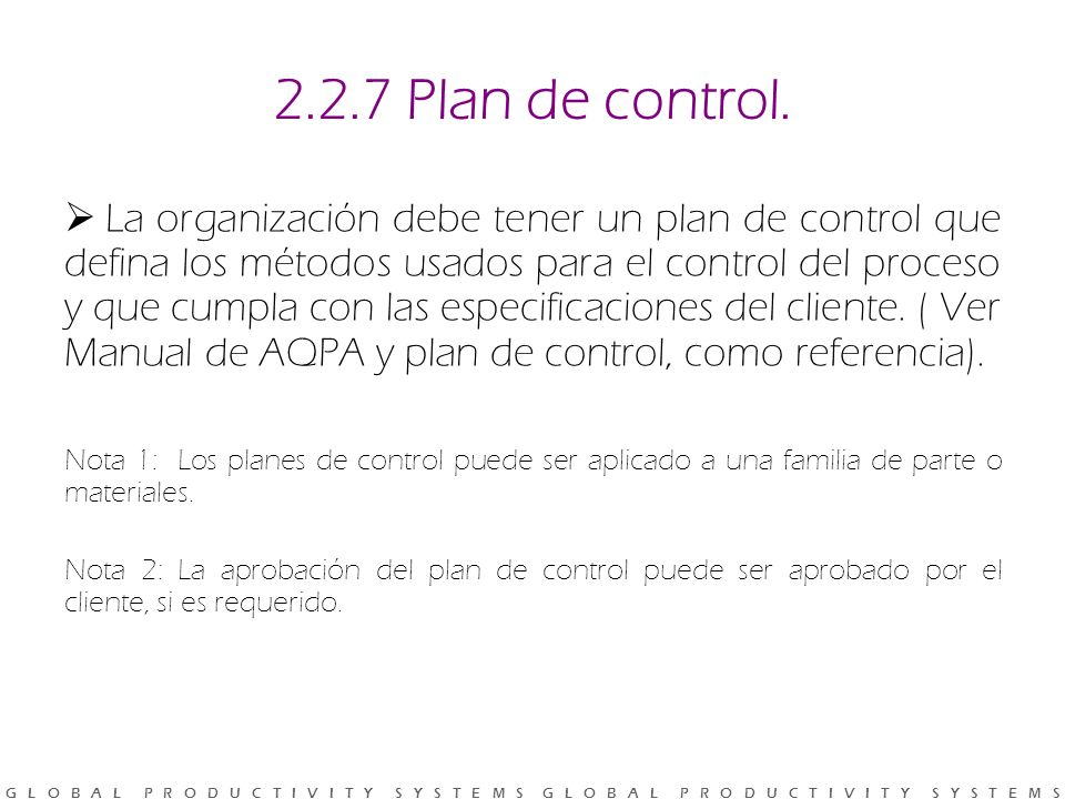 2.2.7 Plan de control.