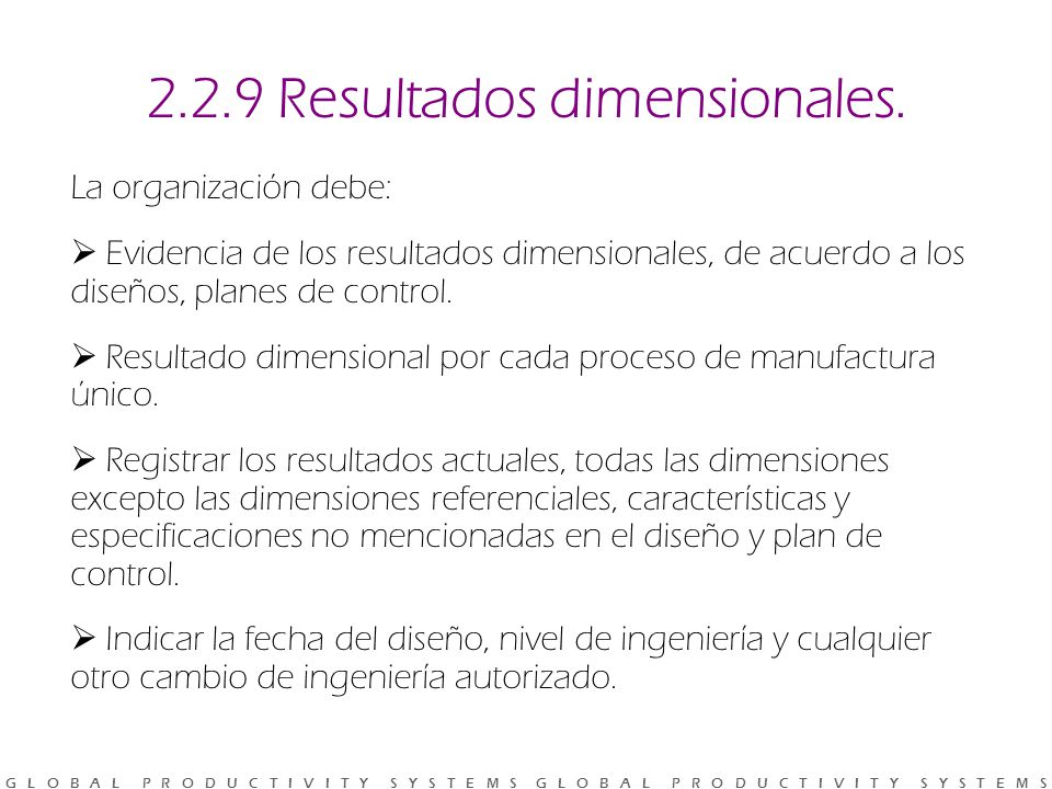 2.2.9 Resultados dimensionales.