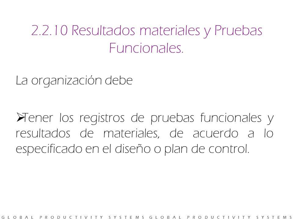 2.2.10 Resultados materiales y Pruebas Funcionales.