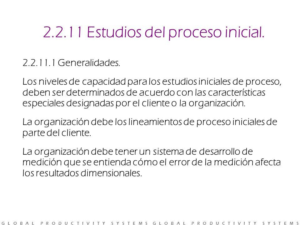 2.2.11 Estudios del proceso inicial.