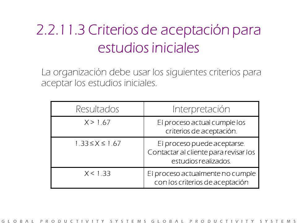 2.2.11.3 Criterios de aceptación para estudios iniciales
