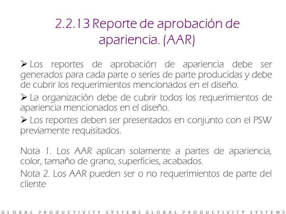 2.2.13 Reporte de aprobación de apariencia. (AAR)
