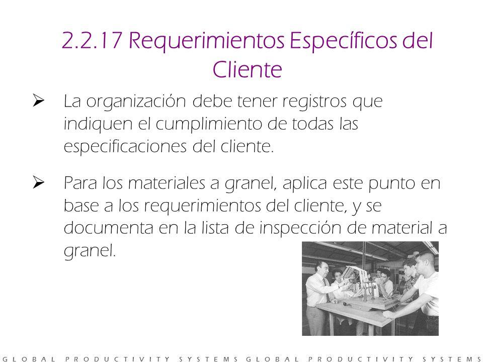 2.2.17 Requerimientos Específicos del Cliente