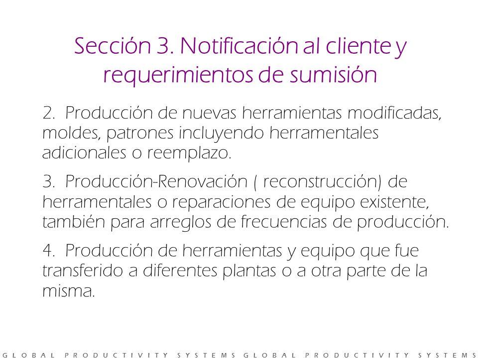 Sección 3. Notificación al cliente y requerimientos de sumisión