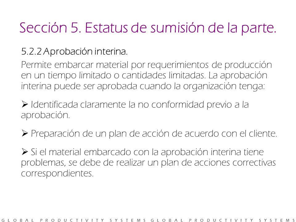 Sección 5. Estatus de sumisión de la parte.