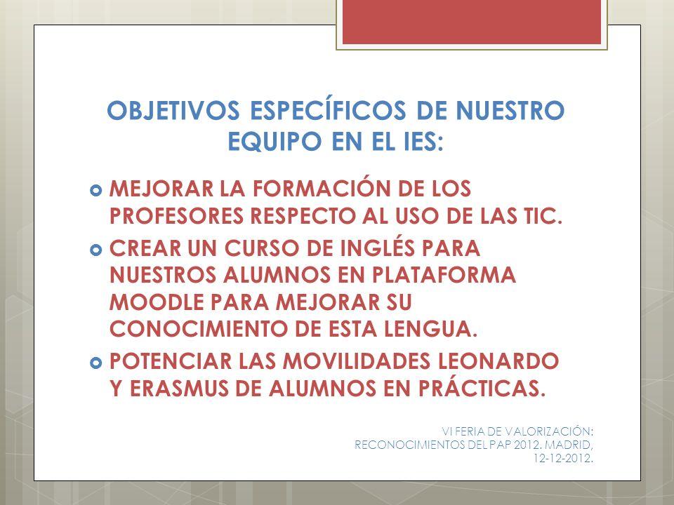 OBJETIVOS ESPECÍFICOS DE NUESTRO EQUIPO EN EL IES: