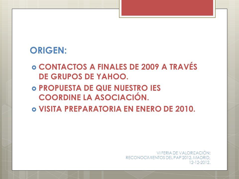ORIGEN: CONTACTOS A FINALES DE 2009 A TRAVÉS DE GRUPOS DE YAHOO.