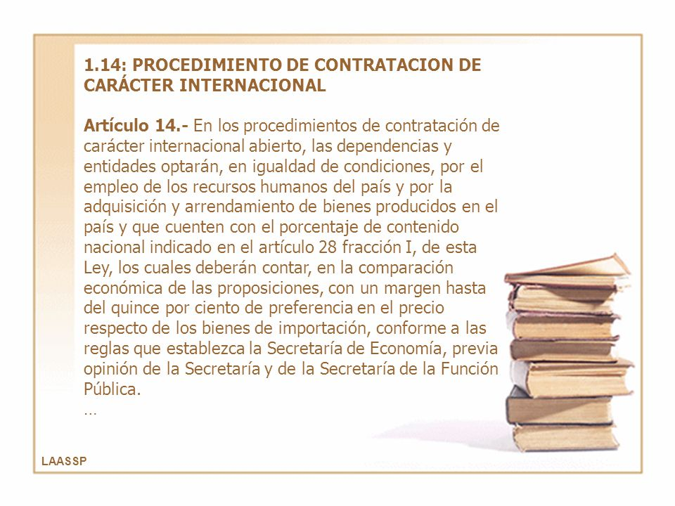 1.14: PROCEDIMIENTO DE CONTRATACION DE CARÁCTER INTERNACIONAL