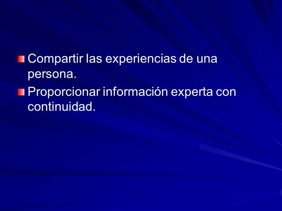 Compartir las experiencias de una persona.