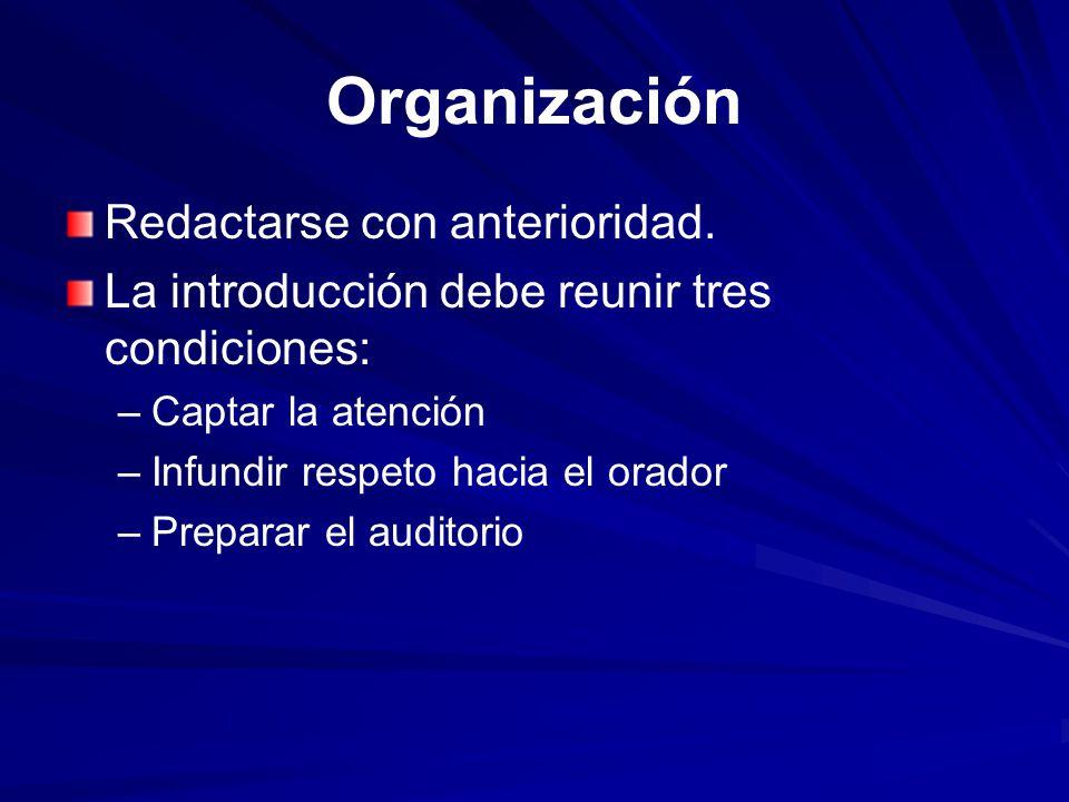 Organización Redactarse con anterioridad.