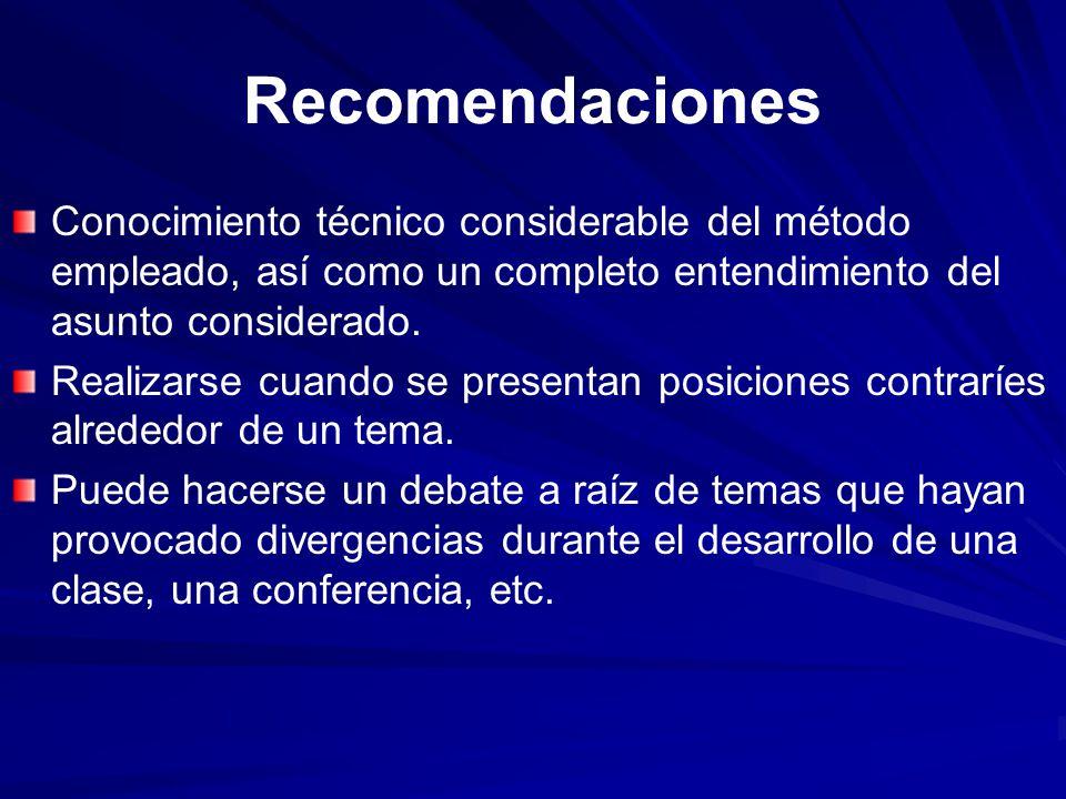Recomendaciones Conocimiento técnico considerable del método empleado, así como un completo entendimiento del asunto considerado.