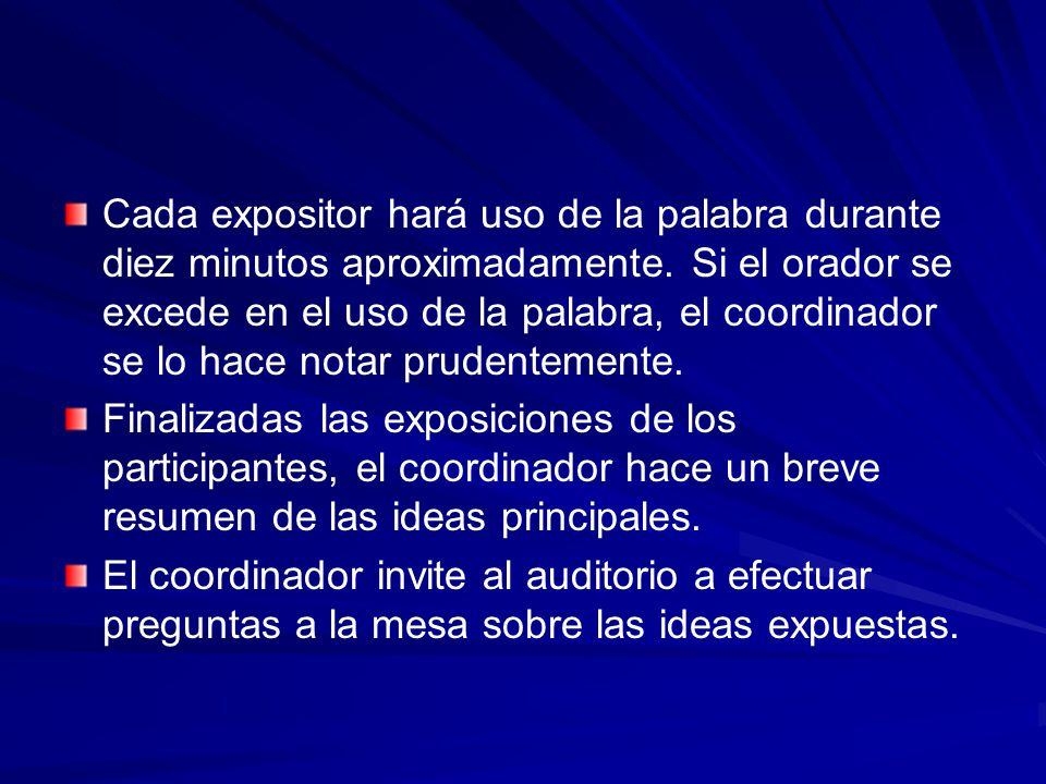 Cada expositor hará uso de la palabra durante diez minutos aproximadamente. Si el orador se excede en el uso de la palabra, el coordinador se lo hace notar prudentemente.