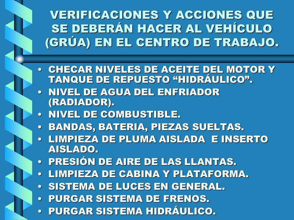 VERIFICACIONES Y ACCIONES QUE SE DEBERÁN HACER AL VEHÍCULO (GRÚA) EN EL CENTRO DE TRABAJO.