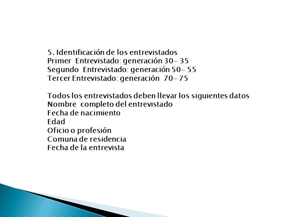 5. Identificación de los entrevistados