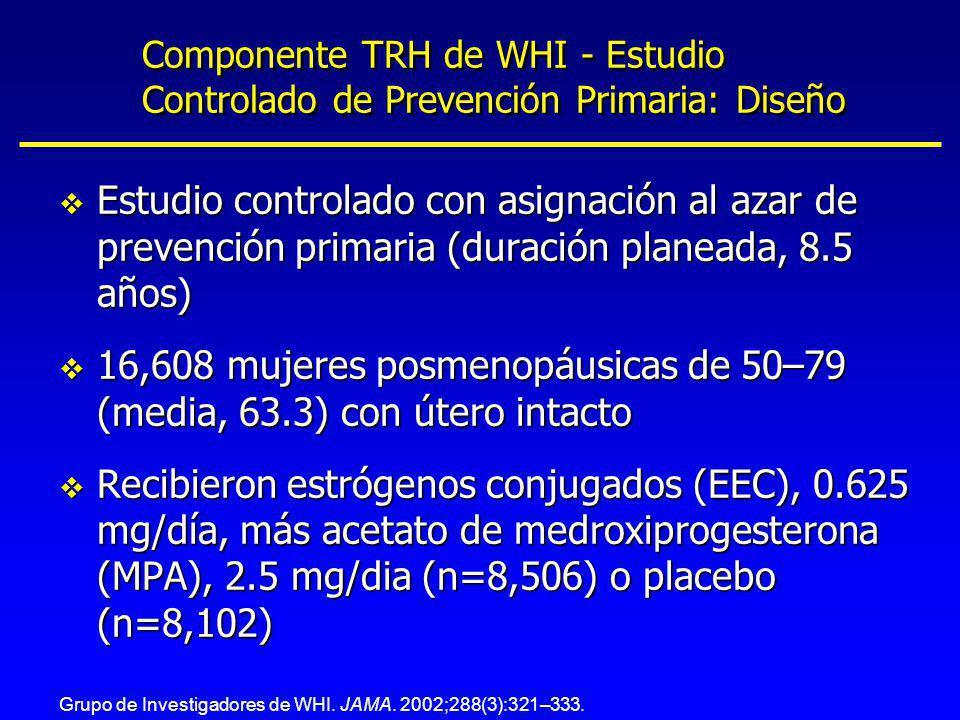 Componente TRH de WHI - Estudio Controlado de Prevención Primaria: Diseño