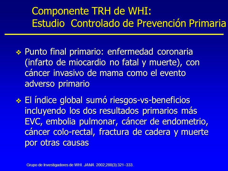 Componente TRH de WHI: Estudio Controlado de Prevención Primaria
