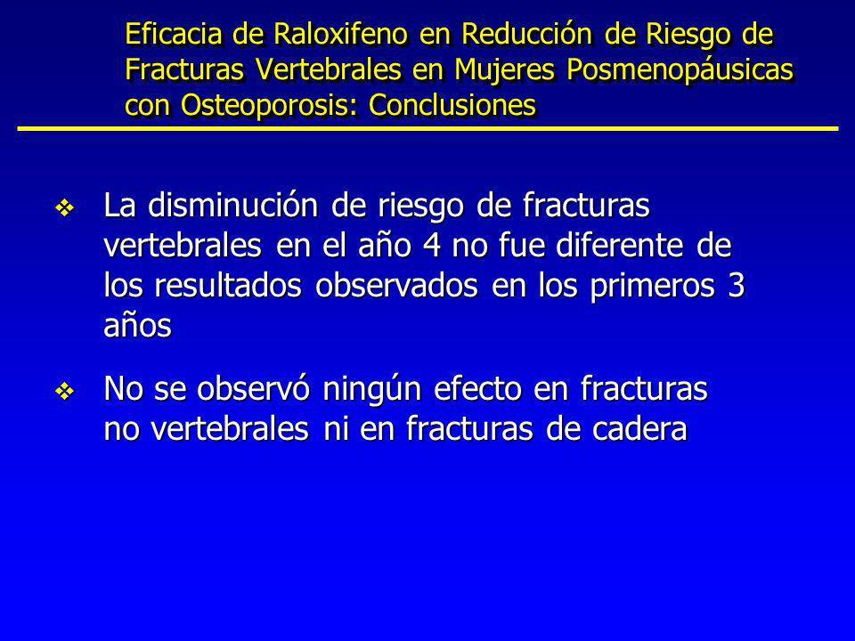 Eficacia de Raloxifeno en Reducción de Riesgo de Fracturas Vertebrales en Mujeres Posmenopáusicas con Osteoporosis: Conclusiones