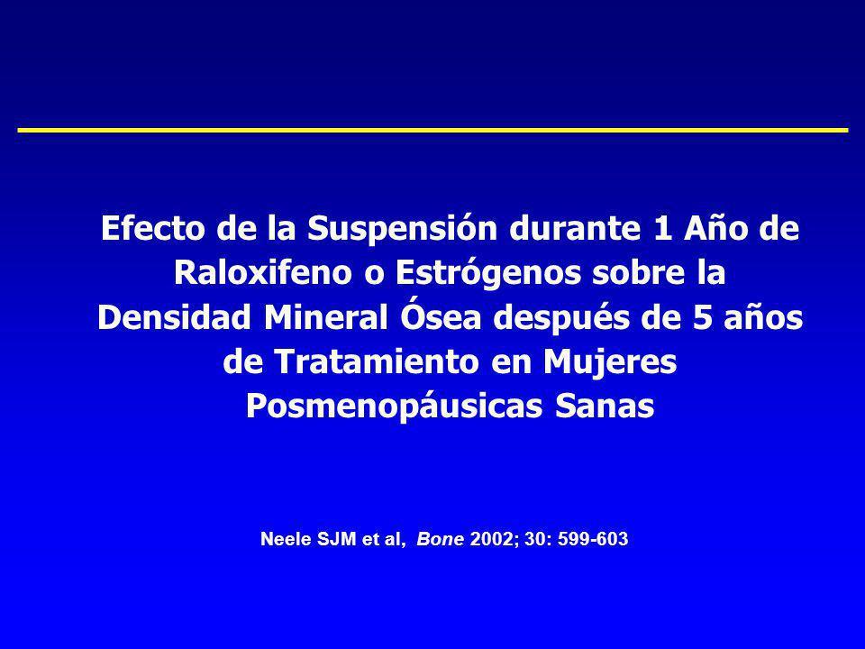 Efecto de la Suspensión durante 1 Año de Raloxifeno o Estrógenos sobre la Densidad Mineral Ósea después de 5 años de Tratamiento en Mujeres Posmenopáusicas Sanas
