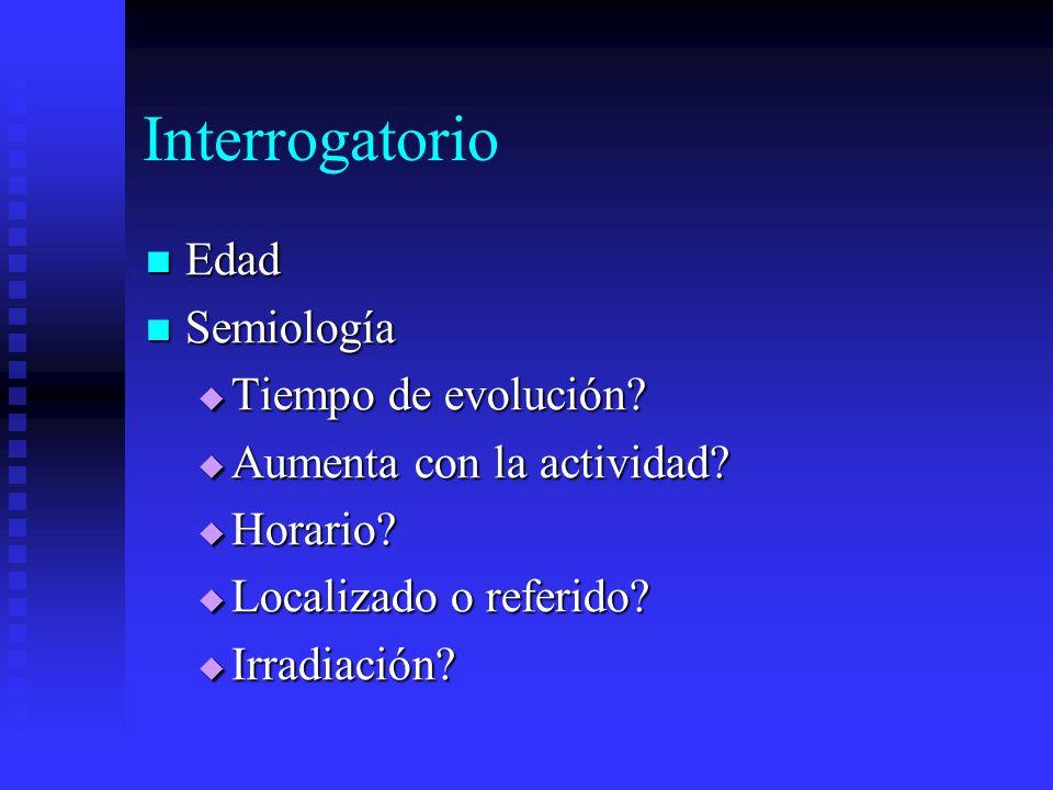 Interrogatorio Edad Semiología Tiempo de evolución