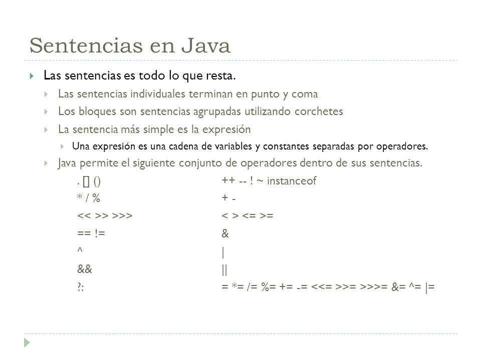 Sentencias en Java Las sentencias es todo lo que resta.