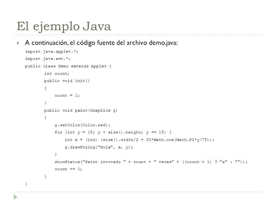 El ejemplo Java A continuación, el código fuente del archivo demo.java: import java.applet.*; import java.awt.*;