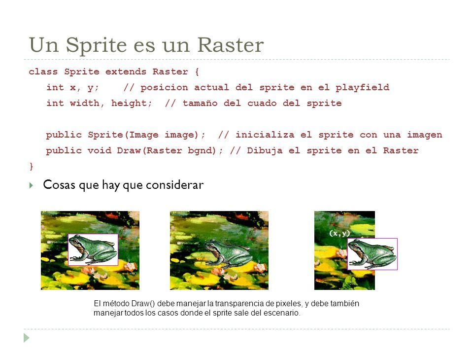 Un Sprite es un Raster Cosas que hay que considerar
